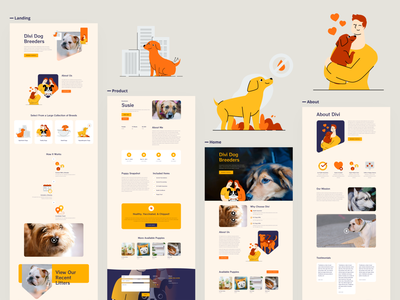 Dog Breeder Template Design for Divi yellow sketch illustrations wordpress design wordpress theme divi typography template website ux ui dog icon dog art dog food dog breeder dog breeds dog logo dogs dog illustration dog
