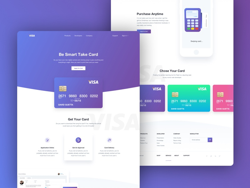 Landing Page - Product web site service ux ui user experience design simplicity usability security level online banking marketing website interface branding identity financial pictogram credit debit card bank landing page