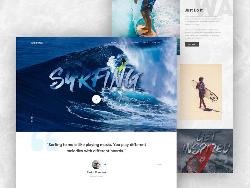 Landing Page - Surfing interface website web design experience ux ui landing surfboard surfing surf exploration