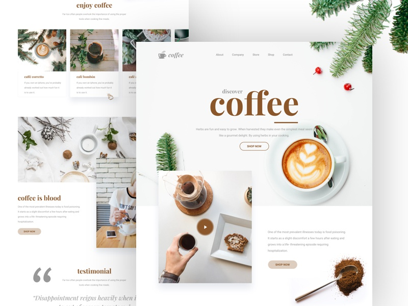 Landing Page - Coffee ux ui coffee minimal landing page minimal website design clean website clean marketing page clean landing page 2018