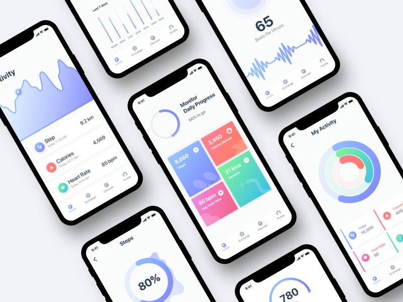Fitness App UI ux ui minimal ios healthy health fitness diet design clean iphonex