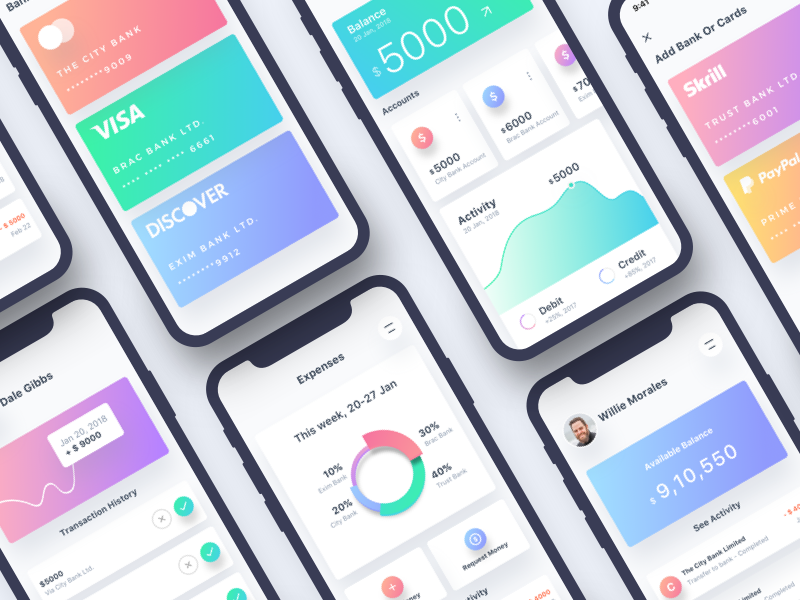 Banking App UI iphonex transactions send money ios financial finance contacts cards card banking bank