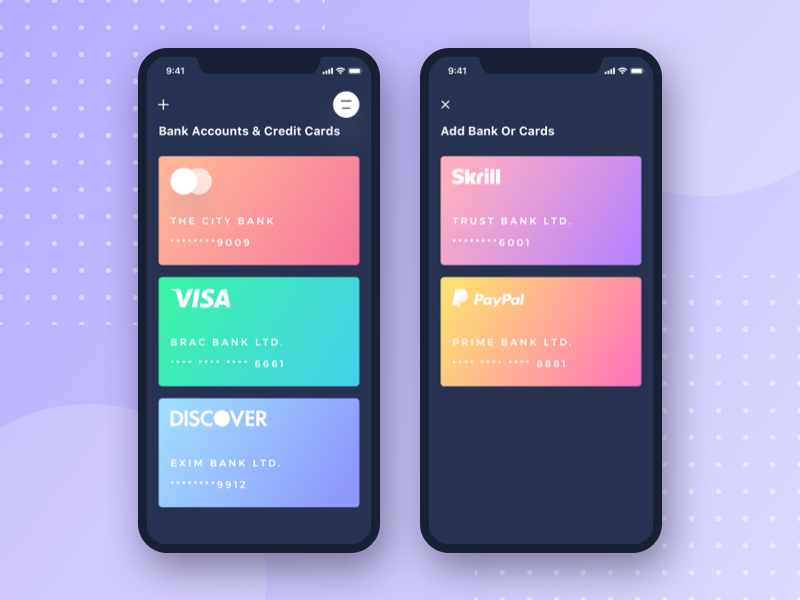 Banking App UI (Dark Version) iphonex transactions send money ios financial finance contacts cards card banking bank dark