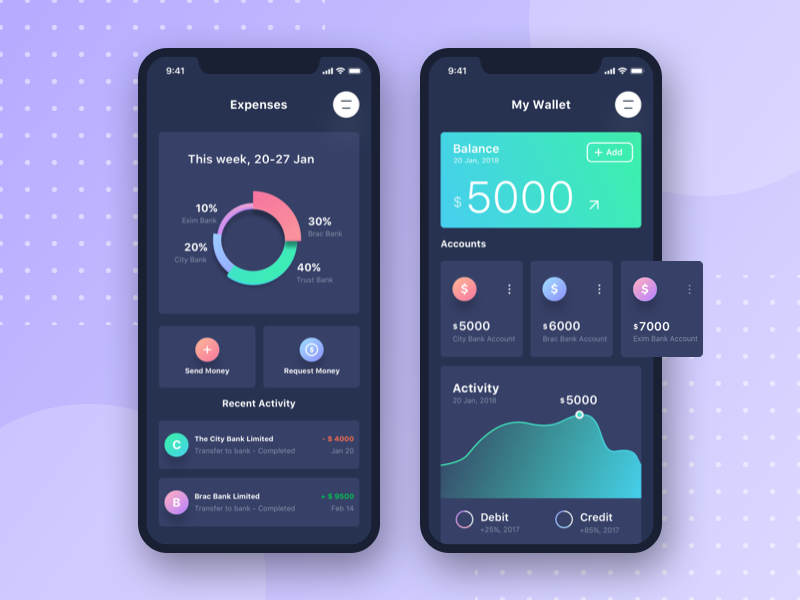 Banking App UI (Dark Version)
