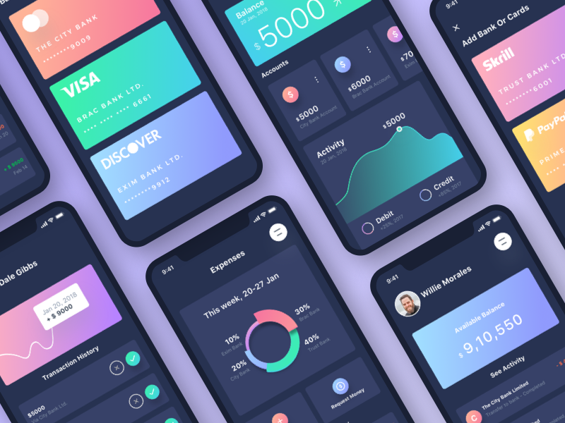 Banking App UI (Dark Version) dark bank banking card cards contacts finance financial ios send money transactions iphonex