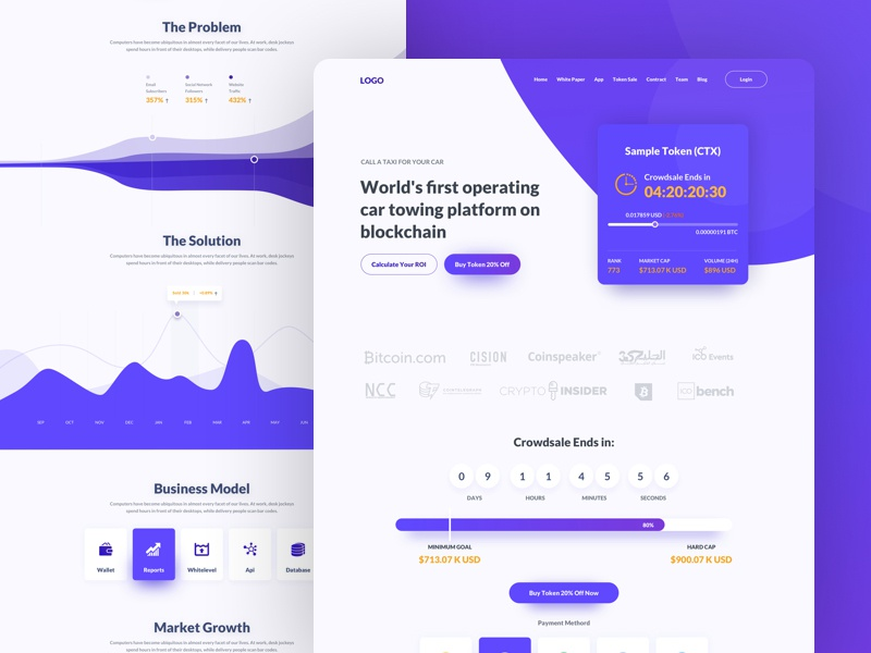 Landing Page for Cryptocurrency Company ux ui currency landing page wallet token payment dashboard cryptocurrency bitcoin crypto