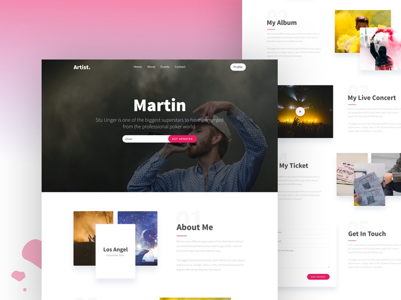 Artist Landing Page ux ui webdesign typography profile musician music landing page booking band atrist