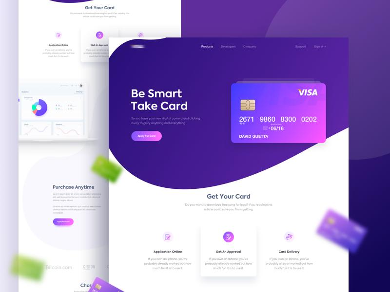 Be Smart Take Card : Smart Card Smart UI finance money paypal visa homepage card smart gradient design ui landing