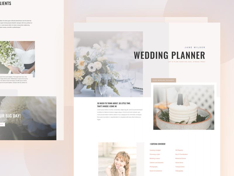 Wedding Planner - Sneak Peek website template layout landing wordpress divi wedding planner
