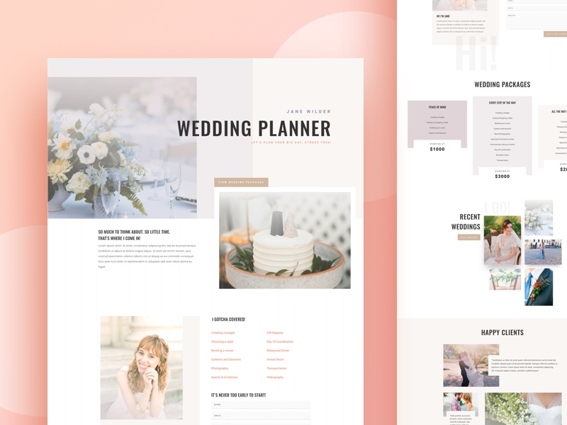 wedding planner website template design for divi by ishtiaq khan