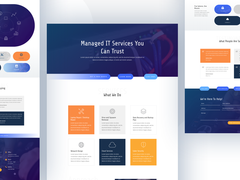It Services Template Design for Divi website template layout landing wordpress divi it services it