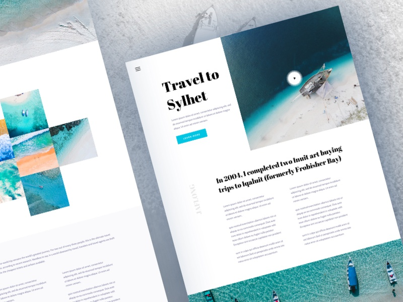 Travel Blog Exploration blog travel tourism serif search photography landing page clean card