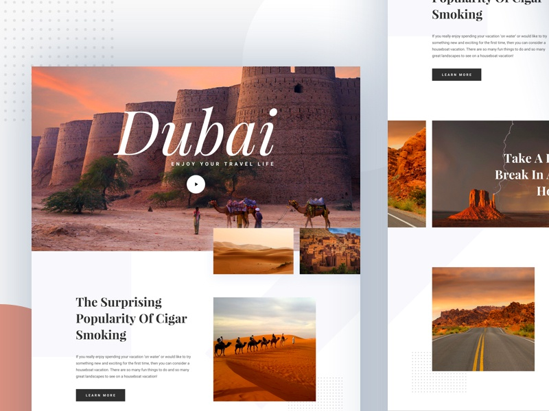 Travel Blog Exploration II card clean landing page photography search serif tourism travel blog