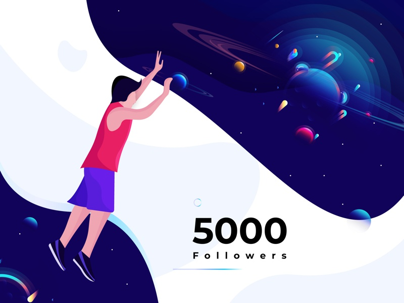 5K Followers ux ui color space planet illustration followers 5k 5000