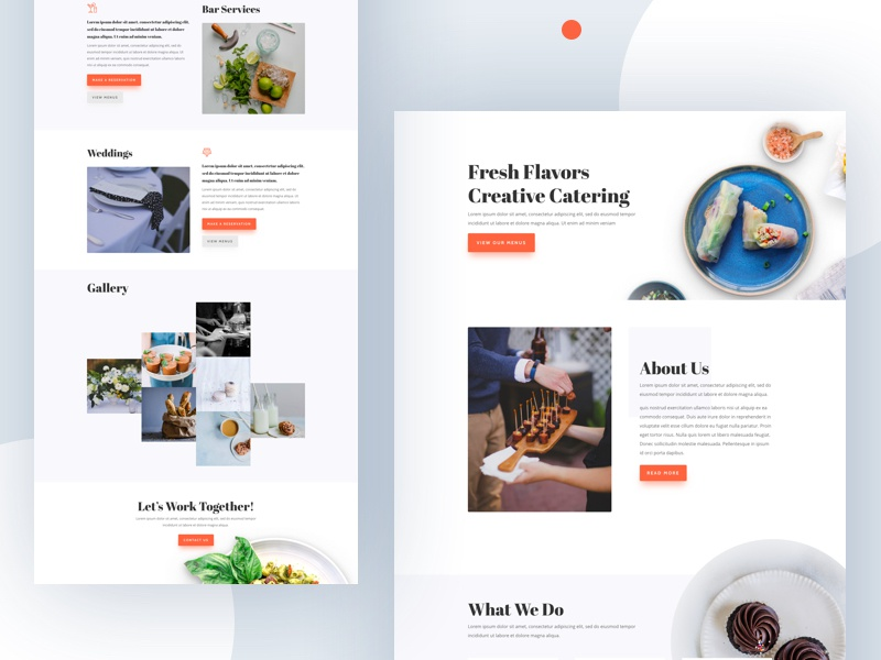 Food Catering Template Design for Divi catering food restaurant minimal food catering divi wordpress layout template website