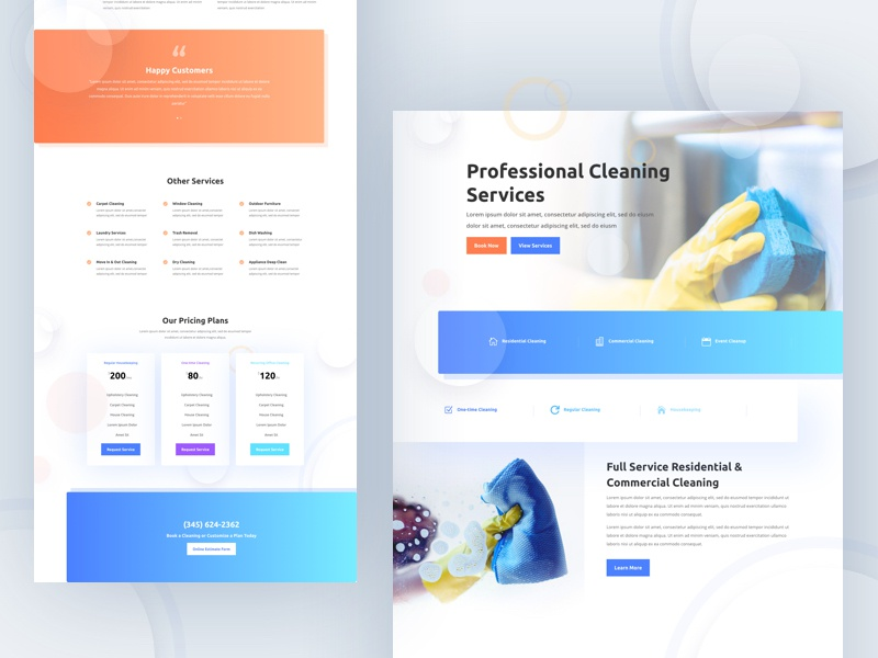 Cleaning Company - Sneak Peek cleaning cleaning service cleaning company divi wordpress landing layout template website