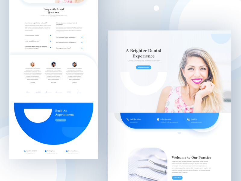 Dentist - Sneak Peek dribbble best shot layout wordpress template divi cards icon clean modern medical clinic smile dental protection website landing page healthcare health denutes dentist