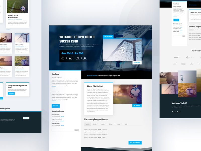 Soccer Club Template Design for Divi wordpress website webdesign ux ui typography template soccerclub soccer product minimal layout landing page landing divi design clean cards card 2018