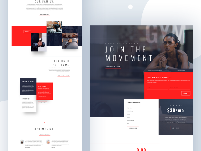 Fitness Gym - Sneak Peek cards product dribbble best shot 2018 design landing clean typography webdesign ux ui health website landingpage divi gym fitness template wordpress layout