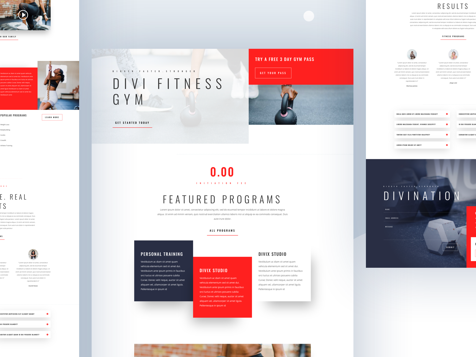 Fitness Gym Template Design for Divi homepage divi wordpress layout website gym fitness health ui ux webdesign template typography clean landing design 2018 dribbble best shot product cards