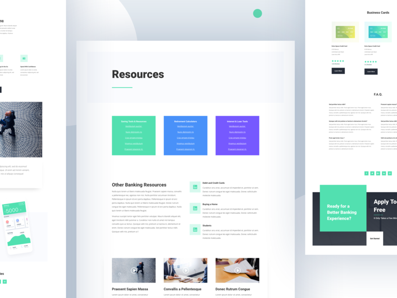 Bank Template Design for Divi bank bank account chart finance financial graph statistics stats credit card icon landing page money debit card bank card website template wordpress layout ui ux