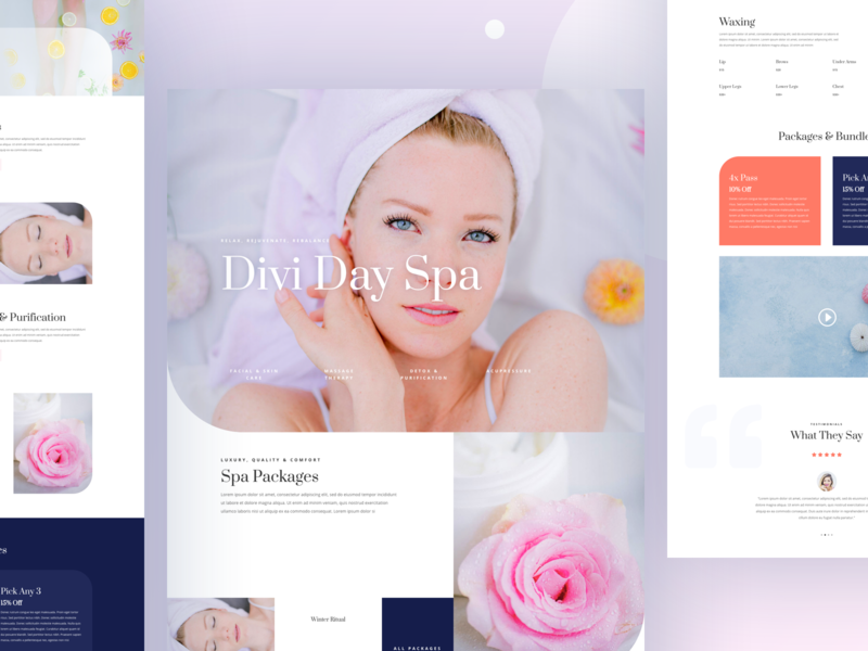 Day Spa Template Design for Divi spa relax luxury interface landing page layout minimal typography ui ux website template wordpress divi beauty homepage clean day spa wellness