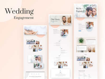 Wedding Engagement Template Design for Divi newlyweds flower rsvp ring typography couples marriage illustrations engagement wedding invite wedding divi icon landing page website template wordpress layout ui ux
