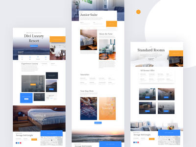 Resort Template Design for Divi ux ui layout wordpress template website landing page divi illustrations typography resort spa hotel restaurant booking travel vacation web minimal reservation