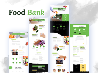 Food Bank Template Design for Divi typography illustrations divi landing page website template wordpress layout ui ux hunger non-profit charity non-profit organization homepage donate gradient clean donation help