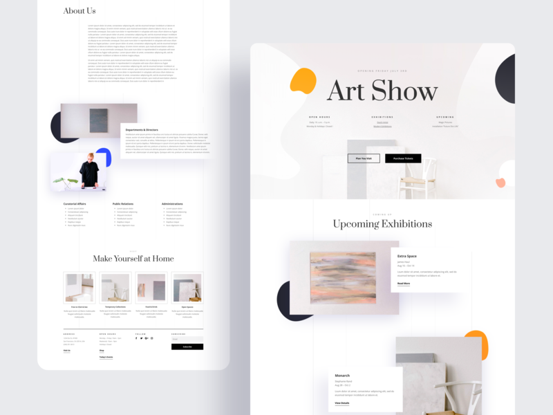 Art Gallery - Sneak Peek wordpress website product design design typography grid divi elegant themes landing page illustration template ux ui web design minimalistic interface interaction gallery artist art