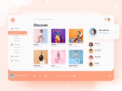Music Player simple sidebar desktop album podcast play light clean slider web spotify songs radio design playlist player music gradient dashboard app
