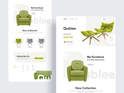 Qublee Landing Page uinugget interior product page chair furniture design interaction shop ecommerce cart furniture store furniture product typography layout clean minimal landing page ux website ui