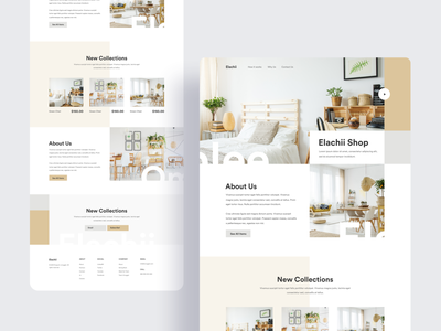 Elachii Landing Page interior furniture bed and breakfast bedroom bed dribbble best shot ecommerce product page uinugget product landing design typography layout clean minimal landing page ux website ui