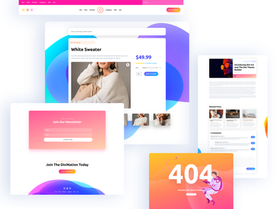 Introducing The Divi Theme Builder article blog design 404page theme for wordpress builder gradient design system product design wordpress typography clean template landing page ux website ui theme design elegant themes divi theme builder