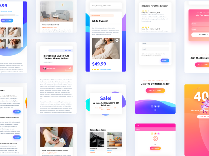 Introducing The Divi Theme Builder - Mobile Responsive concept application elegant themes design system wordpress theme builder 404page landing page divi typography template ux website ui mobile responsive mobile ui illustration gradient app design app