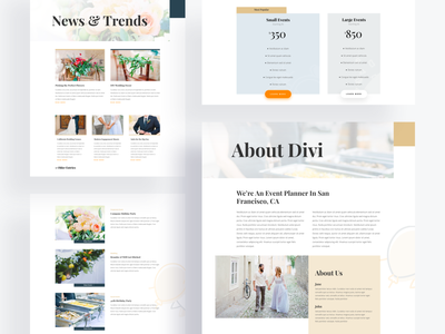Event Planner Template Design for Divi yellow orange white minimal clean ui event planning icons design photography event event planner illustration wordpress divi layout typography template landing page website ux ui