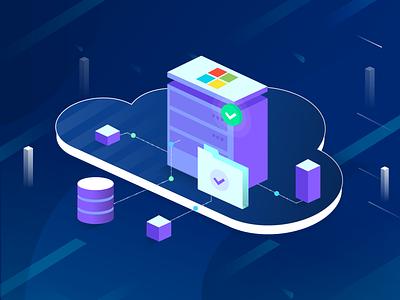 Cloud Computing Illustration vector design visual ms mines corey database server illustration computing cloud microsoft