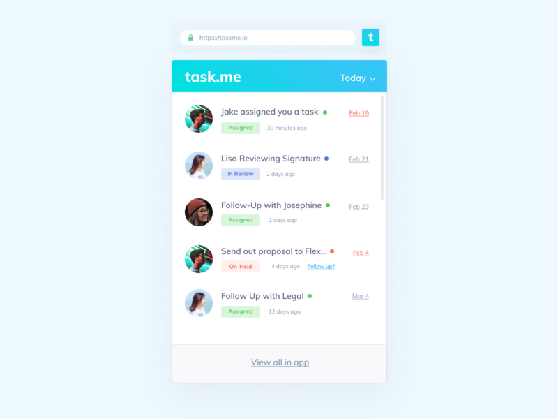 Daily UI 027 - Dropdown (Chrome Extension - Task Manager) dropdowns design interface visual daily 100 task management manager task chrome extension chrome dropdown 027 ui ux daily ui