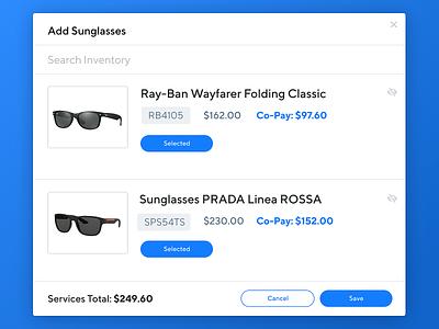 Eyeglass Checkout Experience daily interface dailyui visual design product design ui ux visual design healthcare insurance sunglasses