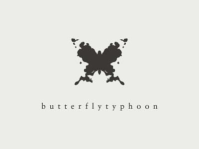 Butterfly Typhoon butterfly inkblot typography branding identity logo