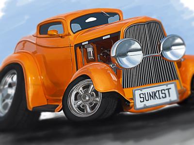 Sunkist CARicature caricature illustration digital painting photoshop autos custom