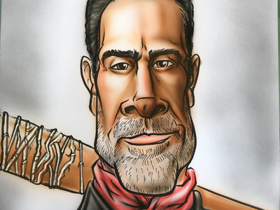 Walking Dead Art of the day airbrush hand drawn. illustration caricature