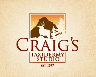 Craig's Taxidermy Logo Design logo rustic identity outdoors