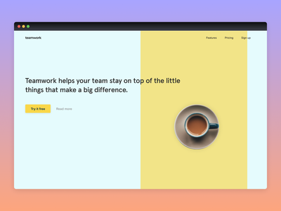 Teamwork Landing Page typogaphy product website landingpage