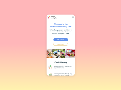 Daycare Landing Page Mobile