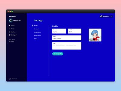 Teamwork Settings bulma dashboard profile product design settings