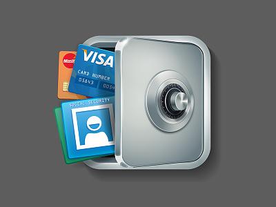 Identity Vault app icon identity protector locker safe vault icon logo desing icon