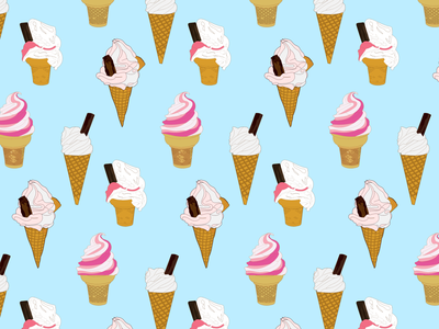 106d summer outlines flat illustration ice cream cone simple pattern ice cream drawing linear