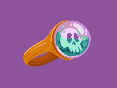 Skull Ring skulls cute digitalart ipad pro design illustration art haunted halloween skull cursed drawing illustraion
