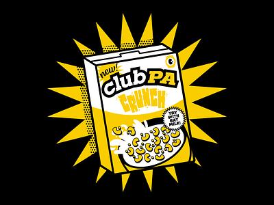 ClubPA T-Shirt Design cereals clean clothing cereal box handlettering clubpa cereal digital illustration design cute illustration